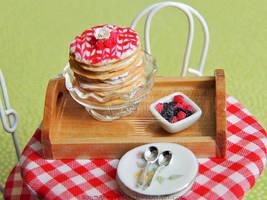 1:12 Raspberry Crepe Cake by PepperTreeArt
