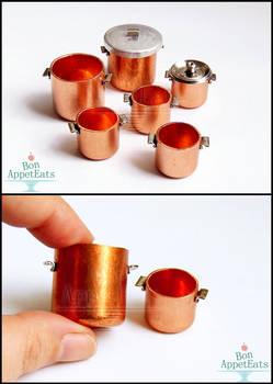 1:12 Copper Pots by PepperTreeArt