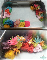 Miniature Coral Reef Tin WiP by PepperTreeArt