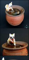 Commission: Maneki Neko Koi Pond Pottery by PepperTreeArt