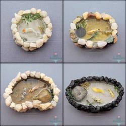Miniature Stone Koi Ponds by PepperTreeArt