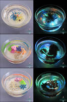 Ocean Themed Glow in the Dark Miniature Ponds by PepperTreeArt
