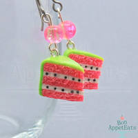 Watermelon Cake Slice Earrings by PepperTreeArt