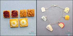 Toast Earrings and Cheese Charm Bracelet by PepperTreeArt