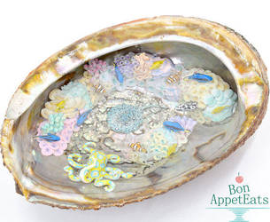 Miniature Coral Reef Inside an Abalone Shell by PepperTreeArt
