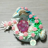 Commission - Pink and Green Dragon Dice Holder by PepperTreeArt