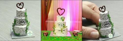 Commission - Birch Tree Wedding Cake by PepperTreeArt