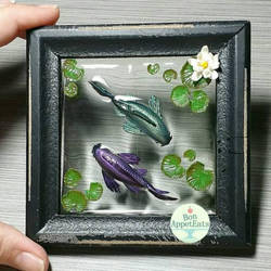 Commission - Purple and Green Koi Frame Pond by PepperTreeArt