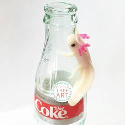 Coke Bottle Axolotl Sculpture by PepperTreeArt