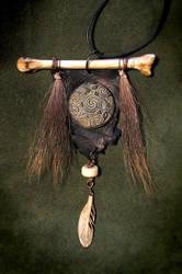 Divine Androgyne - Wolf Bone and Deer Fur Amulet by bonegoddess