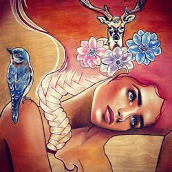 I feel asleep beneath the flowers by LindoArt