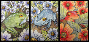 ATCs: Three Flower Frogs by Athalour