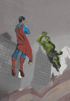 Hulk vs Superman by samuraiminister