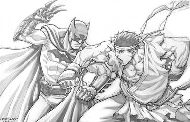 Batman vs Evil Ryu Commish by NgBoy