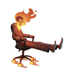 Office Chair Ghost Rider by bearmantooth