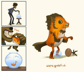 Weregoldfish(wolf) by bearmantooth