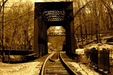 Train bridge at the falls by prettyflour