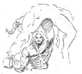 Thor vs Venom roughs by DaveB23