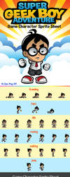 Super Geek Boy Adventure Character Sprite by rixlauren