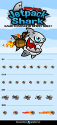 Jetpack Shark Character Sprite by rixlauren
