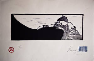 girl rest. lino by paulkleemx
