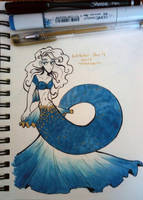 Inktober Day 4: Blue and Gold Mermaid by Raspberl