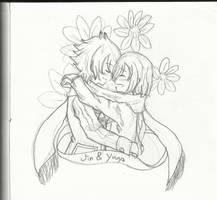 Jinyuu hugs by aoinokogo