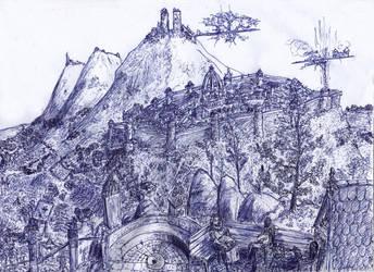 City Pen drawing by Random223