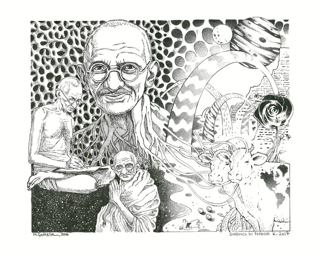 Gandhi In Wonderland by marcgosselin