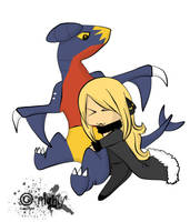 Cynthia and Garchomp by SamukeDarkWing