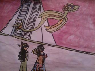 Quetzalcoatl's flight by Aztecatl13