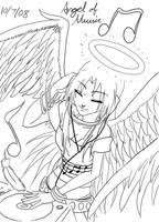 Angel of Music Lineart by bleuthepanda