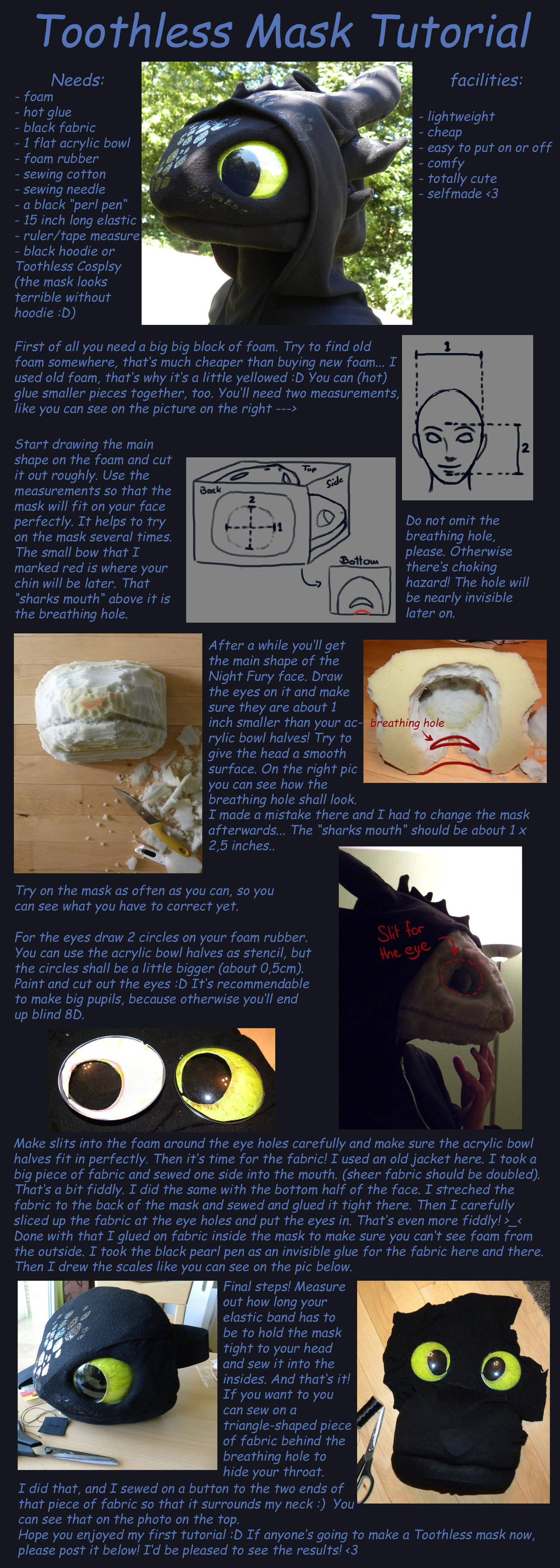 Toothless Mask Tutorial by creanima