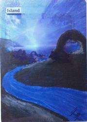 MtG custom land - Island 1 by fyrenwater