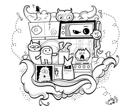 Doodle Monsters in the Kitchen by kapsarovb
