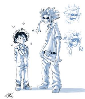 Boku no Hero Academia - beanpole dad and green boy by TC-96