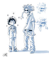 Boku no Hero Academia - beanpole dad and green boy by TC-96