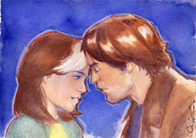 Rogue and Gambit watercolor by KeylessEntry