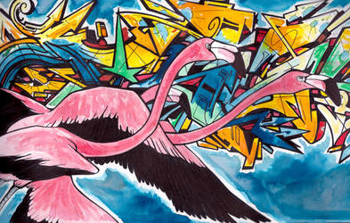 .Chilean Flamingo Graffiti. by CheshireSmile