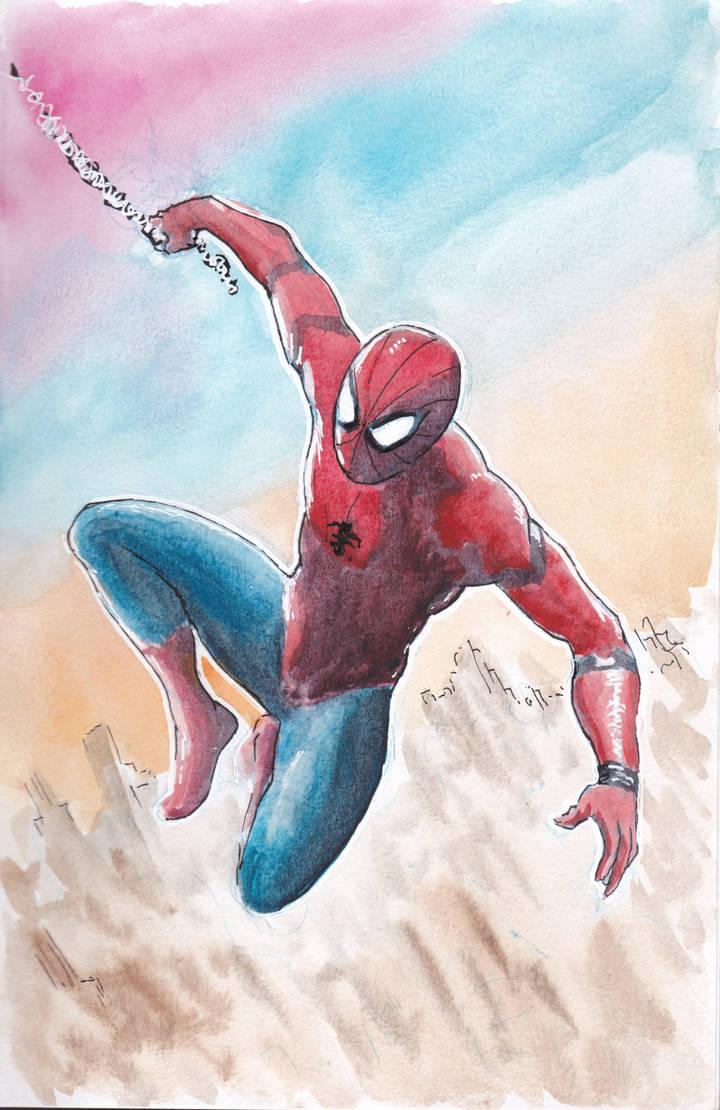 SpidermanWatercolor by Maikart24