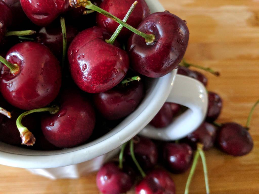 Freshly washed cherries by JenniBeeMine