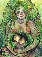Pregnant dryad by beareen
