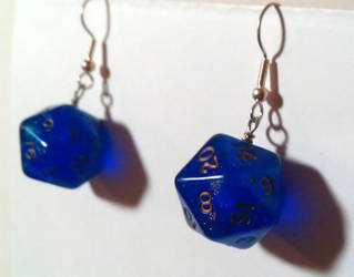 Iridescent Blue D20 Dice Earrings by MickBradley