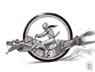 Plumed Serpent Monocycle Sketch by Kamazotz