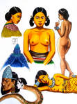 Aztec character sketches by Kamazotz