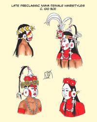 Preclassic Maya Hairstyles by Kamazotz