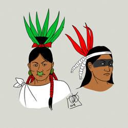 Pipil hairstyles by Kamazotz