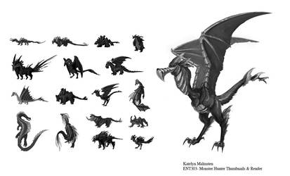 Creature Thumbnails by Kmalmsten