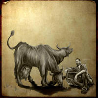 Brahmin and Farmer Fallout by jezviking