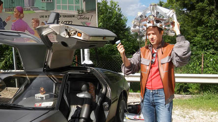Marty McFly with Delorean 4 by peterszebeni